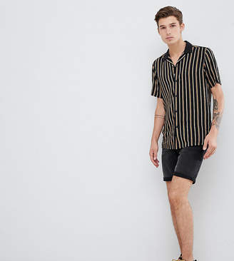 Asos DESIGN Tall regular fit stripe shirt with revere collar in black
