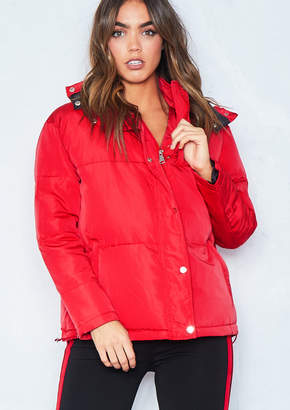 Missy Empire Missyempire Ruby Red Puffer Jacket