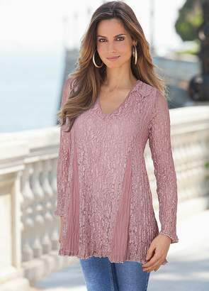 Together Crinkle Lace Tunic Top