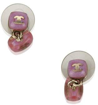 Chanel Vintage Cc Push Back Drop Earrings