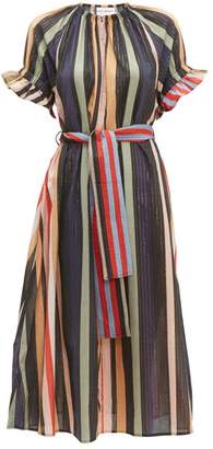 Apiece Apart Chabrol Striped Cotton Blend Midi Dress - Womens - Multi
