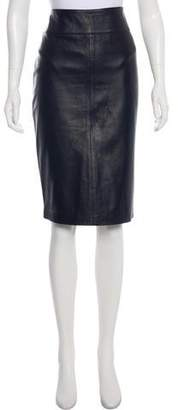 Dolce & Gabbana Leather Knee-Length Skirt
