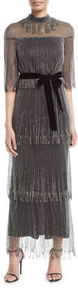 Monique Lhuillier Elbow-Sleeve Tiered Beaded Fringe Cocktail Dress w/ Velvet Belt