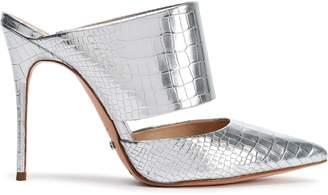 Schutz Cutout Metallic Croc-effect Leather Mules