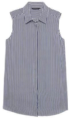 Banana Republic Petite LIFE IN MOTION Parker Tunic-Fit Stripe Washable Silk Sleeveless Shirt with Crossover Back