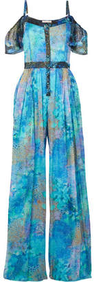 Matthew Williamson - Ocean Odyssey Cold-shoulder Printed Silk-chiffon Jumpsuit - Turquoise