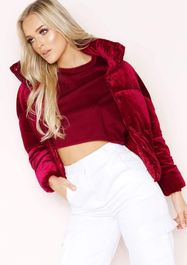 Missyempire Wendi Wine Velvet Puffa Coat