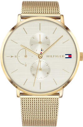 Tommy Hilfiger Women Gold-Tone Stainless Steel Mesh Bracelet Watch 40mm