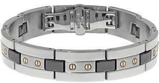 JCPenney FINE JEWELRY Mens Stainless Steel and Black Ceramic Bracelet