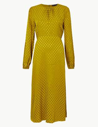 M&S CollectionMarks and Spencer Jacquard Spot Fit & Flare Midi Dress