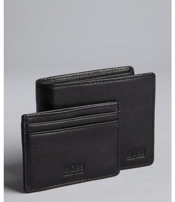 HUGO BOSS black leather bi fold wallet and card holder set