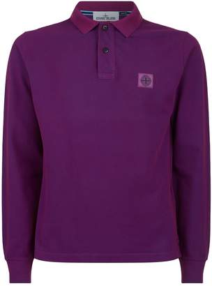 Stone Island Cotton Long Sleeve Polo Shirt
