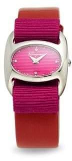 Salvatore Ferragamo Diamond, Stainless Steel & Leather-Strap Watch
