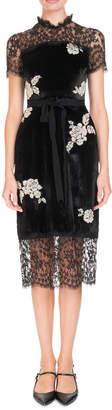 Erdem Keni Short-Sleeve Lace & Velvet Shift Dress w/ Pearly Roses