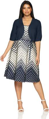 Sandra Darren Women's Plus Size 2 PC Elbow Sleeve Jacket Dress Set, Navy/Ivory, 22W
