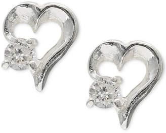 Giani Bernini Cubic Zirconia Heart Stud Earrings in Sterling Silver, Created for Macy's