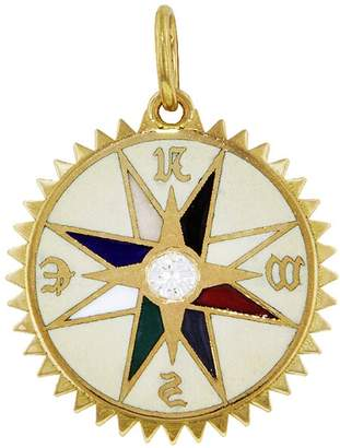 Foundrae White Champlevé Course Correction Medallion - Yellow Gold