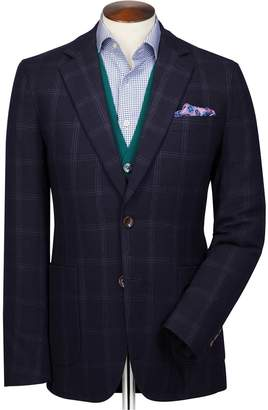 Charles Tyrwhitt Slim Fit Navy and Blue Checkered Wool Flannel Wool Blazer Size 36