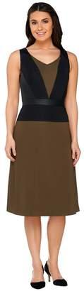 Dennis Basso Color-Block Knit Dress with Faux Leather Trim