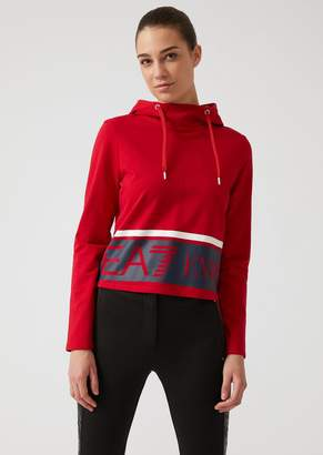 Emporio Armani Ea7 Hooded Sweatshirt With Contrasting Maxi Logo