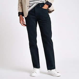 River Island Dark blue Bobby standard raw hem jeans