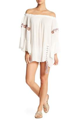 Surf Gypsy Off-the-Shoulder Floral Embroidery Cover-Up Dress