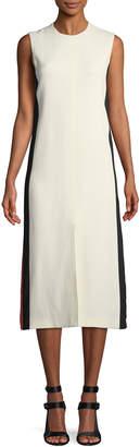 Burberry Selene Sleeveless Side-Striped Midi Dress