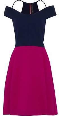 Roland Mouret Natan Cold-Shoulder Two-Tone Wool-Crepe Dress