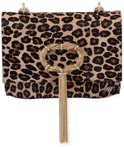 Roger Vivier Club Chain Leopard Hairhide Clutch Bag