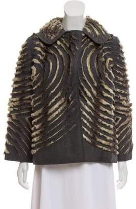 Alberta Ferretti Collared Fur-Trimmed Jacket