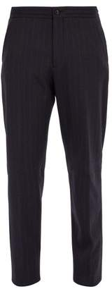 Ermenegildo Zegna Pinstriped Wool Trousers - Mens - Navy