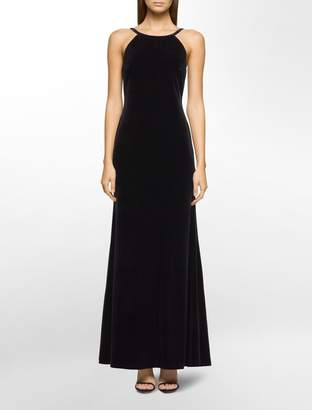 Calvin Klein velvet low-back halter gown