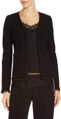 St. John Soft Boucle Knit V-Neck Jacket