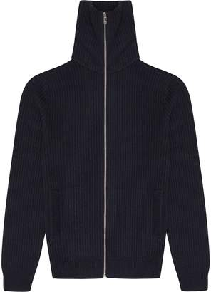 Reiss Harding - Textured Zip Through Jumper in Blue/black