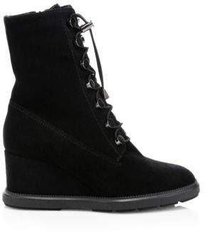 Aquatalia Women's Campbell Suede Wedge Boots - Black - Size 5