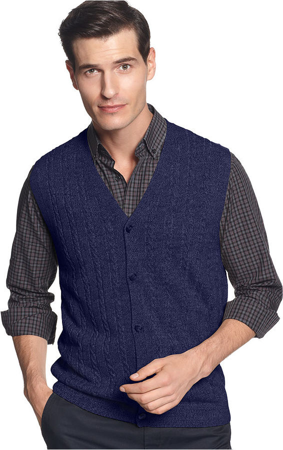 Geoffrey Beene Vest, Cable Sweater-Vest