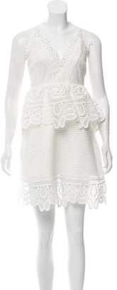 Self-Portrait Lace Trimmed Peplum Dress w/ Tags