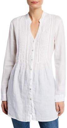 120% Lino Band-Collar Pintucked Button-Front Long-Sleeve Linen Blouse