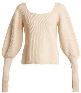 Khaite - Lynette Balloon Sleeve Ribbed Knit Wool Sweater - Womens - Ivory