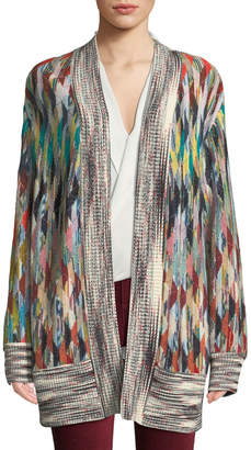 Missoni Open-Front Multicolor Oversized Cashmere-Blend Cardigan