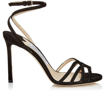 Jimmy Choo MIMI 100 Black Suede Wrap Around Sandals