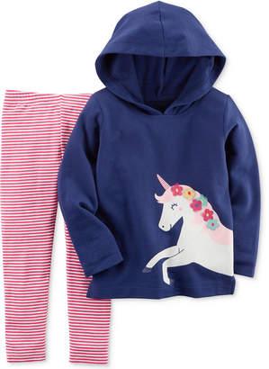 Carter's 2-Pc. Unicorn Hoodie & Striped Leggings Set, Baby Girls