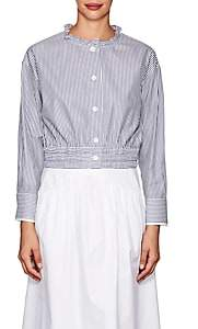 Atlantique Ascoli Women's Lundi Striped Cotton Blouse-Blue, White