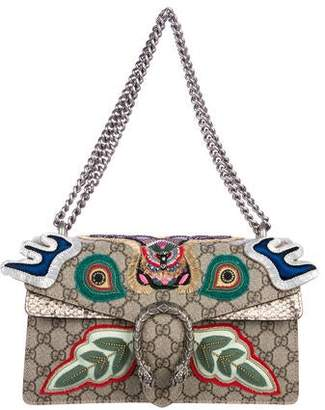 Gucci 2018 Python-Trimmed Embroidered GG Small Dionysus Bag