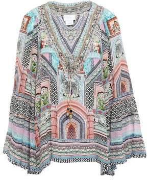 Camilla Lady Lake Embellished Printed Silk Crepe De Chine Blouse