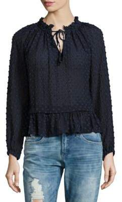Rebecca Taylor Cotton & Silk Long-Sleeve Ruffled Top