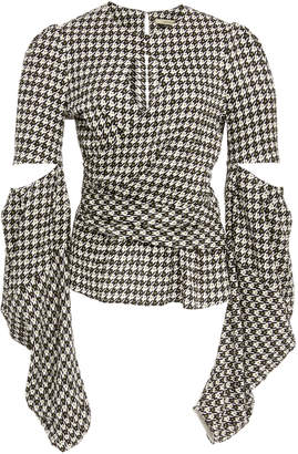 Hellessy Celeste Cutout Houndstooth Jacquard Blouse