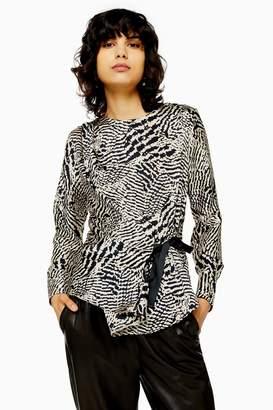 Topshop Womens Animal Print Side Tie Blouse - Monochrome