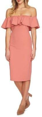 1 STATE 1.STATE Ruffle Off-the-Shoulder Bodycon Dress