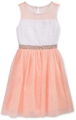 Sequin Hearts Embellished Waist Mesh Dress, Big Girls (7-16) $68 thestylecure.com